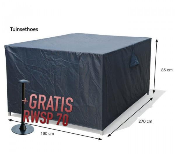 Schutzhülle für rechteckige Gartenmöbel Set 270 x 190 H85 cm