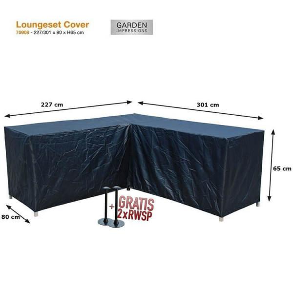 Schutzhülle Lounge Set L-form 301 x 227 x 80 H:65 cm