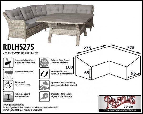Wetterhaube für L-Form Dining Sofas 275 x 275 x 95 H: 100/65 cm