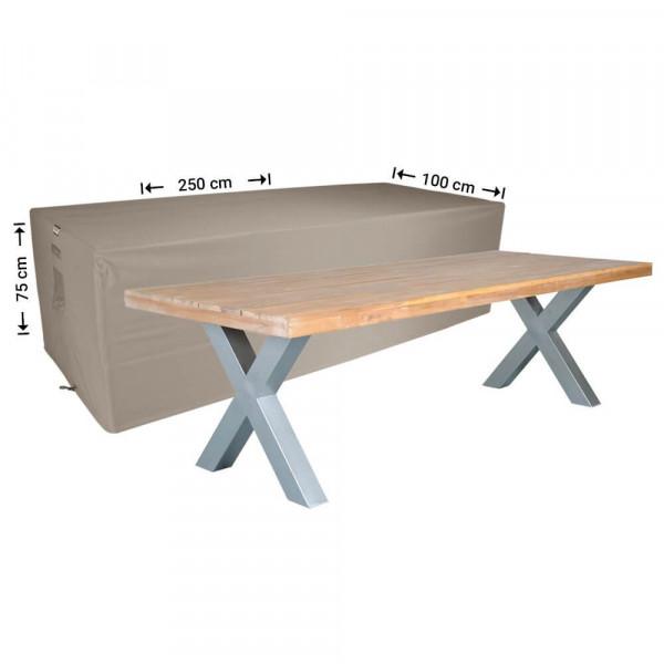 Abdeckung für rechteckige Gartentisch 250 x 100 H: 75 cm